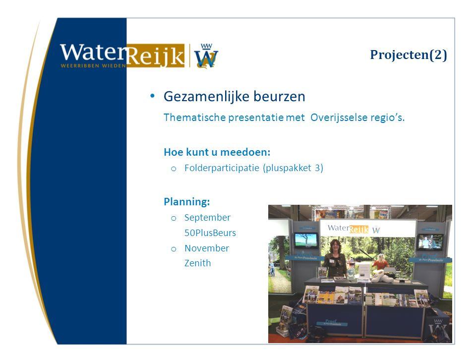 Projecten(2) Gezamenlijke beurzen Thematische presentatie met Overijsselse regio's. Hoe kunt u meedoen: o Folderparticipatie (pluspakket 3) Planning: