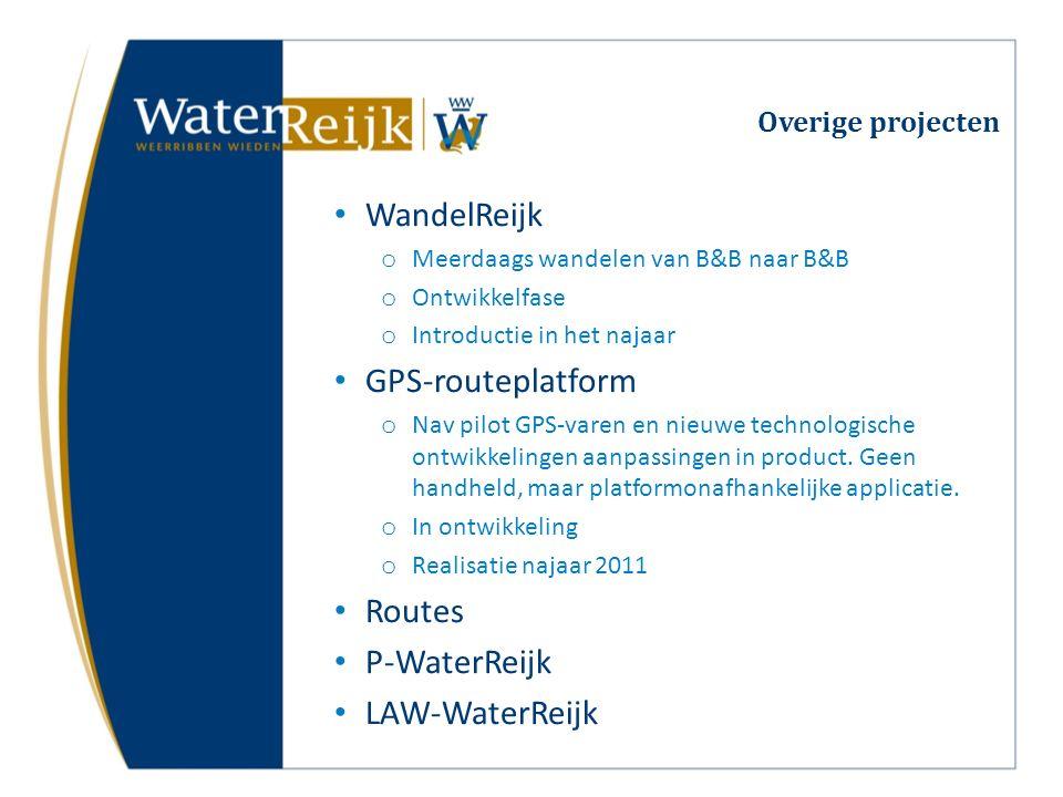 Overige projecten WandelReijk o Meerdaags wandelen van B&B naar B&B o Ontwikkelfase o Introductie in het najaar GPS-routeplatform o Nav pilot GPS-varen en nieuwe technologische ontwikkelingen aanpassingen in product.