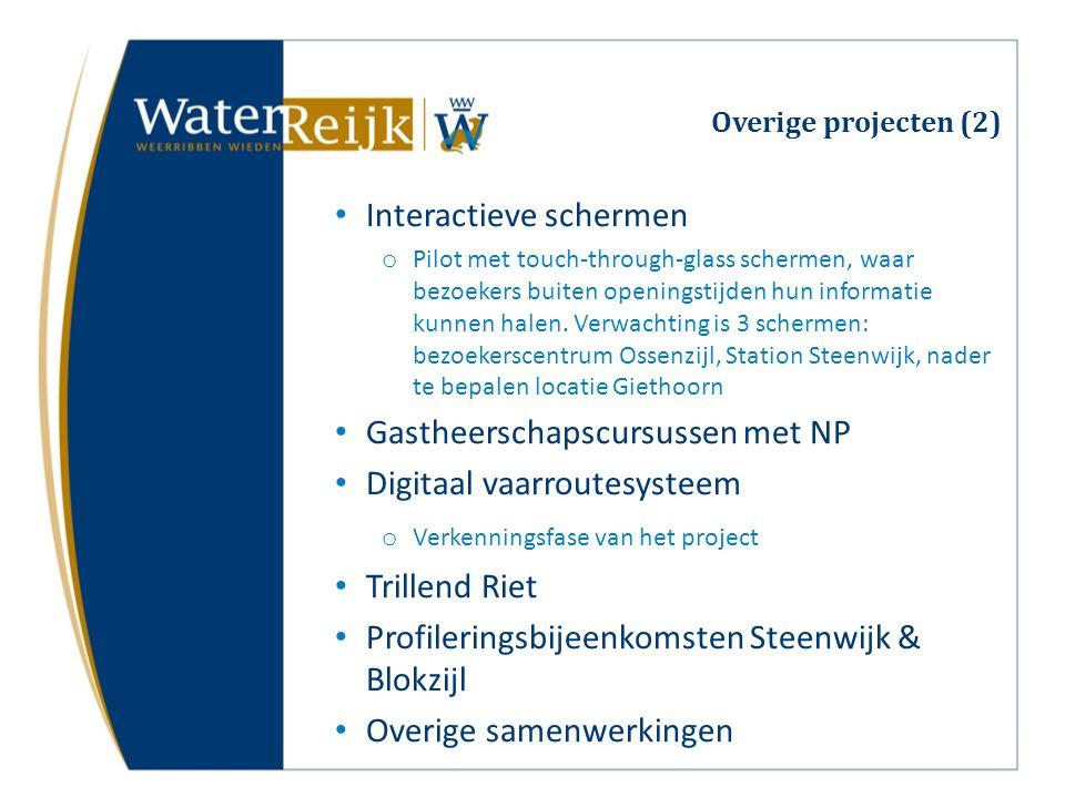 Overige projecten (2) Interactieve schermen o Pilot met touch-through-glass schermen, waar bezoekers buiten openingstijden hun informatie kunnen halen.