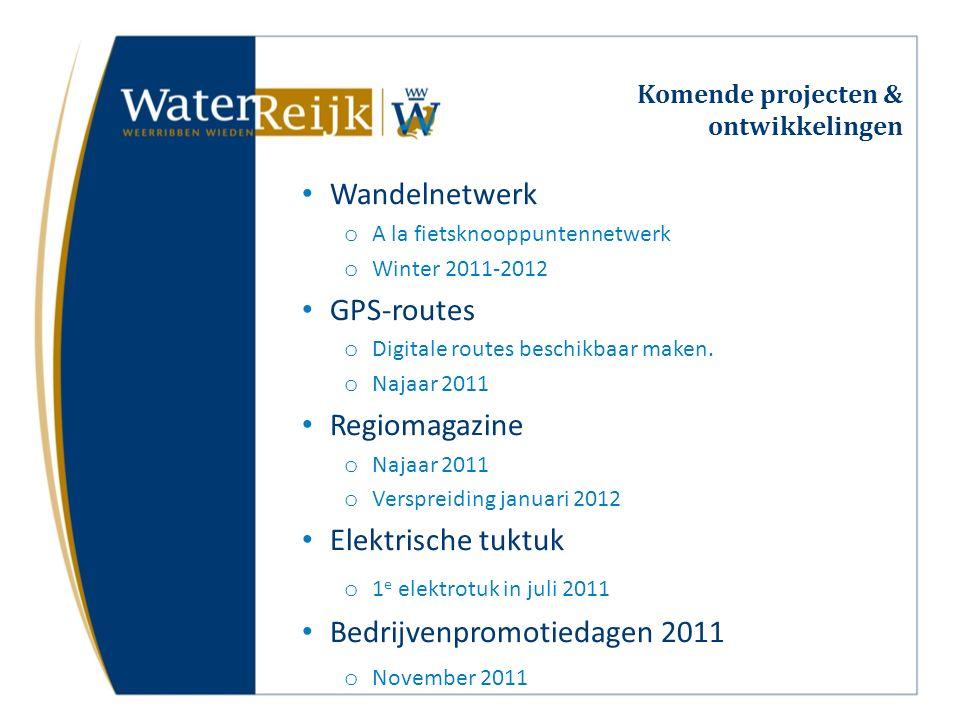 Komende projecten & ontwikkelingen Wandelnetwerk o A la fietsknooppuntennetwerk o Winter 2011-2012 GPS-routes o Digitale routes beschikbaar maken. o N