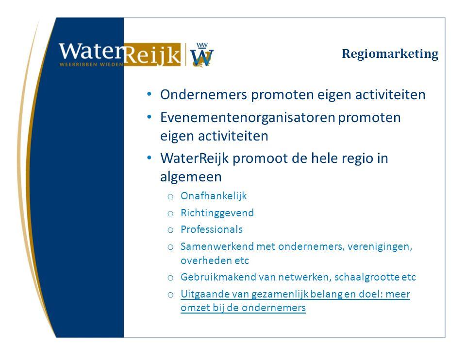 Regiomarketing Ondernemers promoten eigen activiteiten Evenementenorganisatoren promoten eigen activiteiten WaterReijk promoot de hele regio in algeme