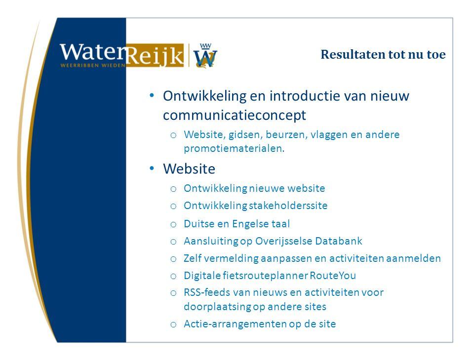 Resultaten tot nu toe Ontwikkeling en introductie van nieuw communicatieconcept o Website, gidsen, beurzen, vlaggen en andere promotiematerialen. Webs