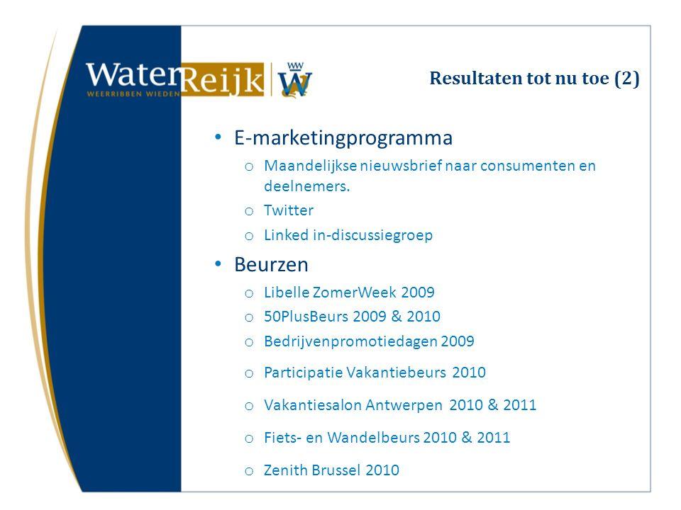 Resultaten tot nu toe (2) E-marketingprogramma o Maandelijkse nieuwsbrief naar consumenten en deelnemers. o Twitter o Linked in-discussiegroep Beurzen