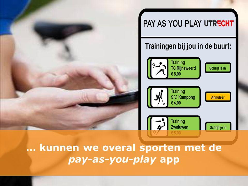 … kunnen we overal sporten met de pay-as-you-play app