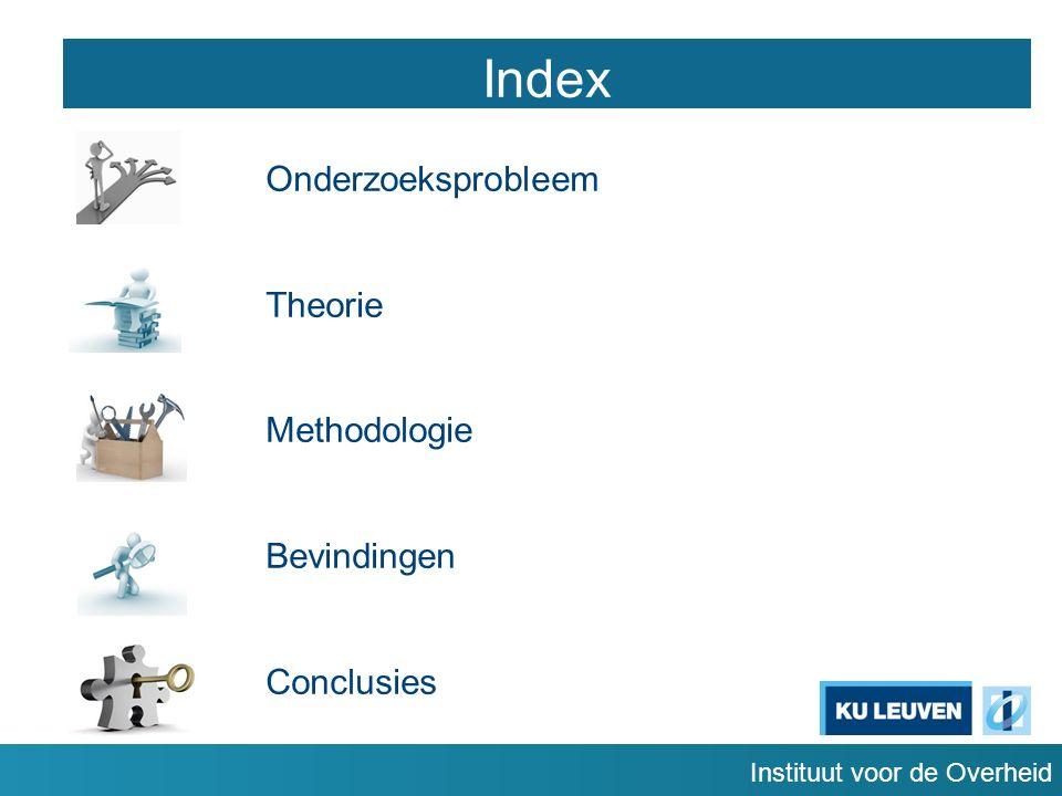 Instituut voor de Overheid Index Onderzoeksprobleem Theorie Methodologie Bevindingen Conclusies