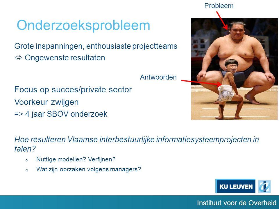 Instituut voor de Overheid Onderzoeksprobleem Grote inspanningen, enthousiaste projectteams  Ongewenste resultaten Focus op succes/private sector Voorkeur zwijgen => 4 jaar SBOV onderzoek Hoe resulteren Vlaamse interbestuurlijke informatiesysteemprojecten in falen.