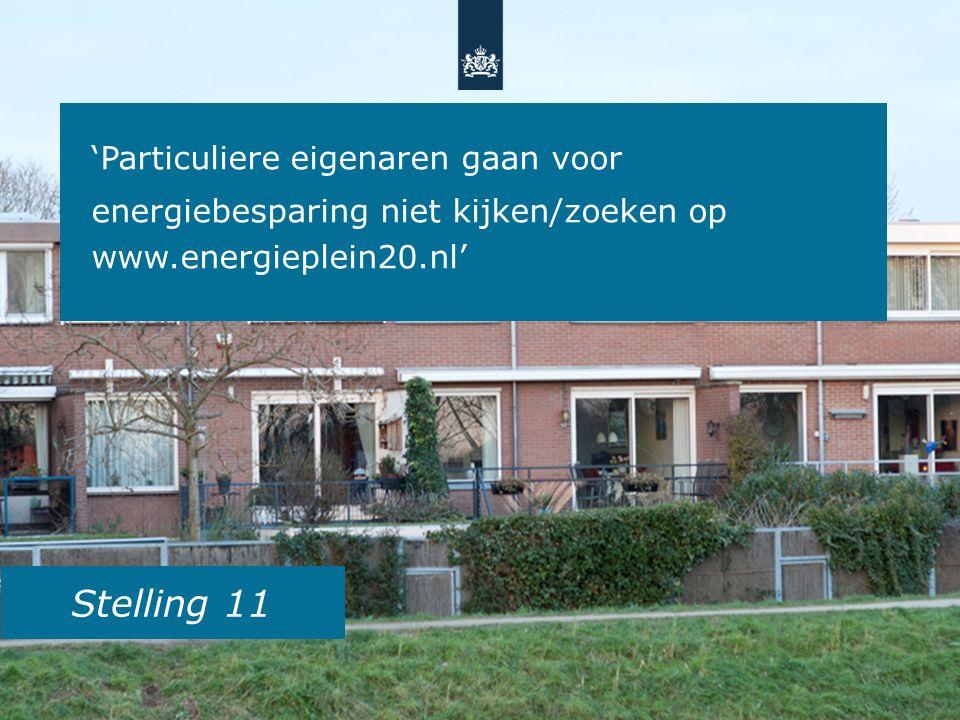 Stelling 11 'Particuliere eigenaren gaan voor energiebesparing niet kijken/zoeken op www.energieplein20.nl'