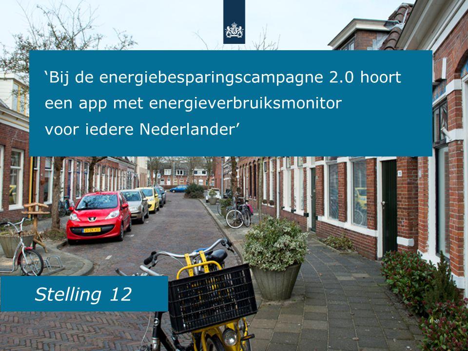 Stelling 12 'Bij de energiebesparingscampagne 2.0 hoort een app met energieverbruiksmonitor voor iedere Nederlander'