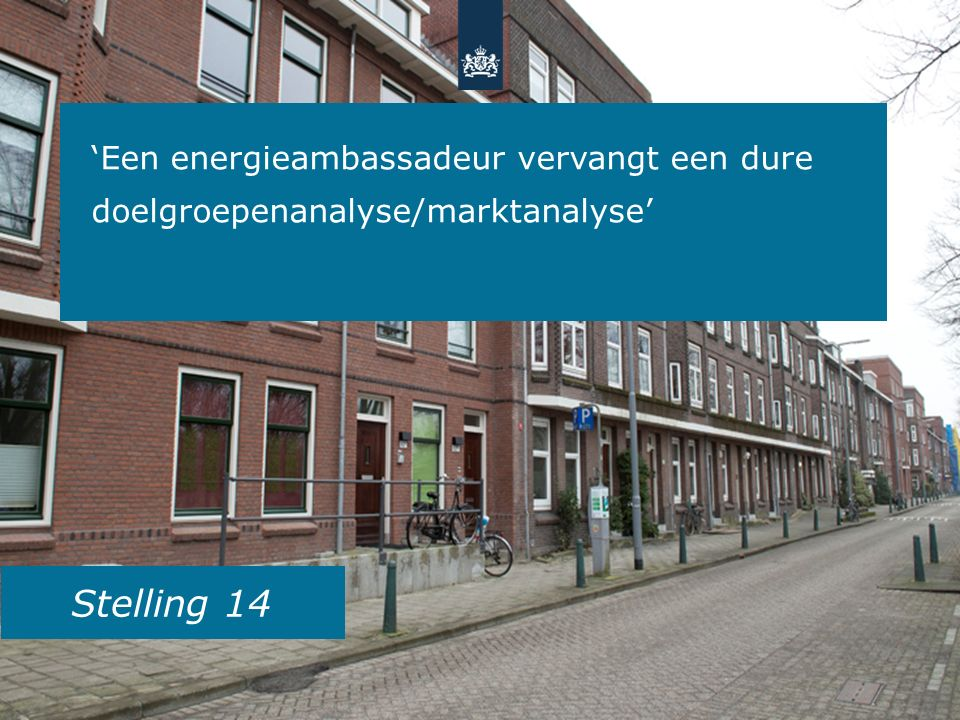 Stelling 14 'Een energieambassadeur vervangt een dure doelgroepenanalyse/marktanalyse'