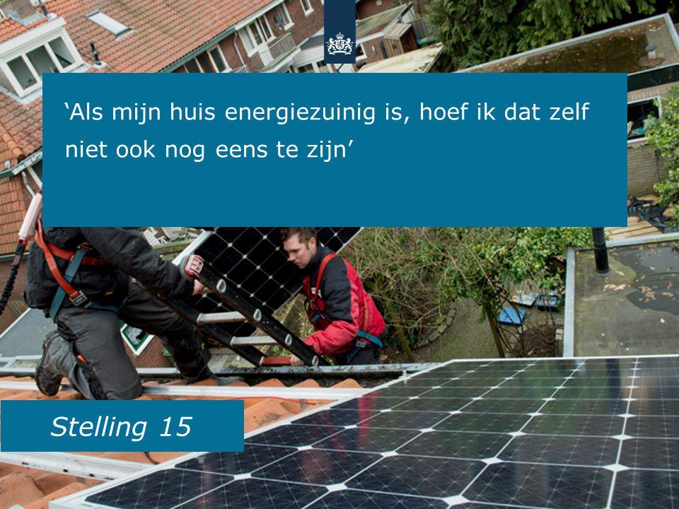 Stelling 15 'Als mijn huis energiezuinig is, hoef ik dat zelf niet ook nog eens te zijn'