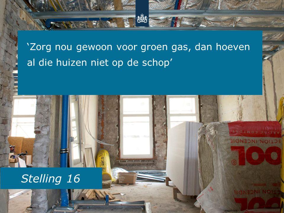 Stelling 16 'Zorg nou gewoon voor groen gas, dan hoeven al die huizen niet op de schop'