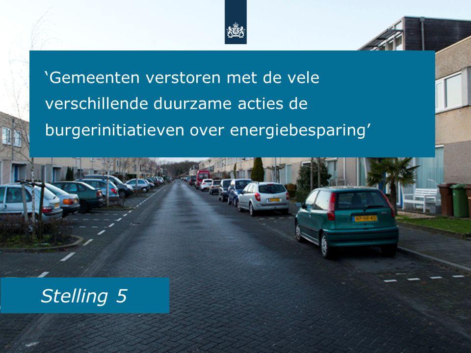 Stelling 5 'Gemeenten verstoren met de vele verschillende duurzame acties de burgerinitiatieven over energiebesparing'
