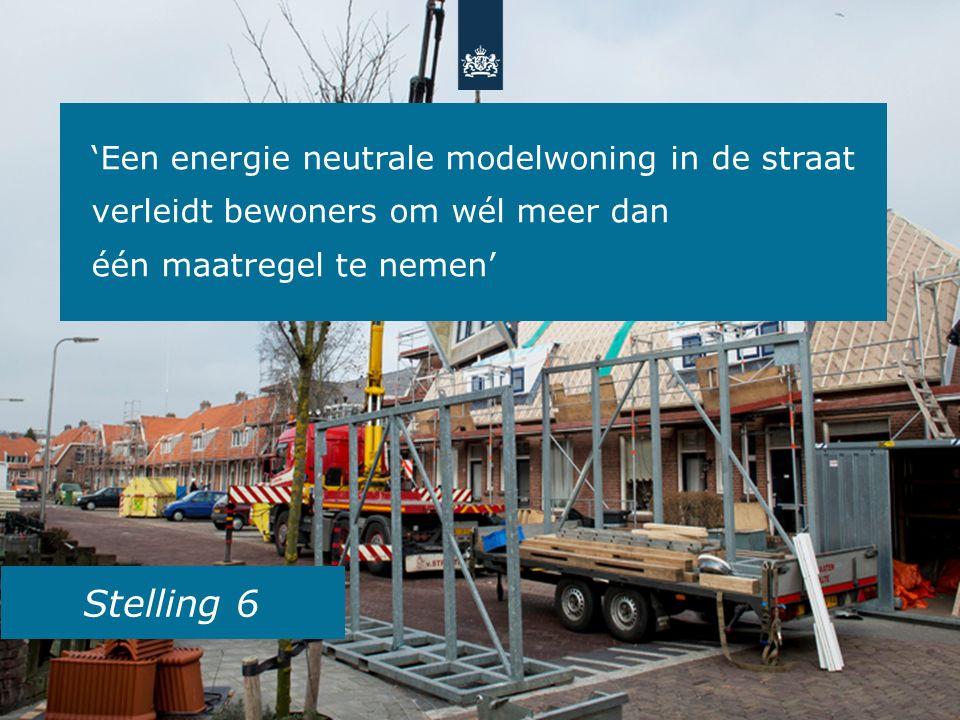 Stelling 6 'Een energie neutrale modelwoning in de straat verleidt bewoners om wél meer dan één maatregel te nemen'