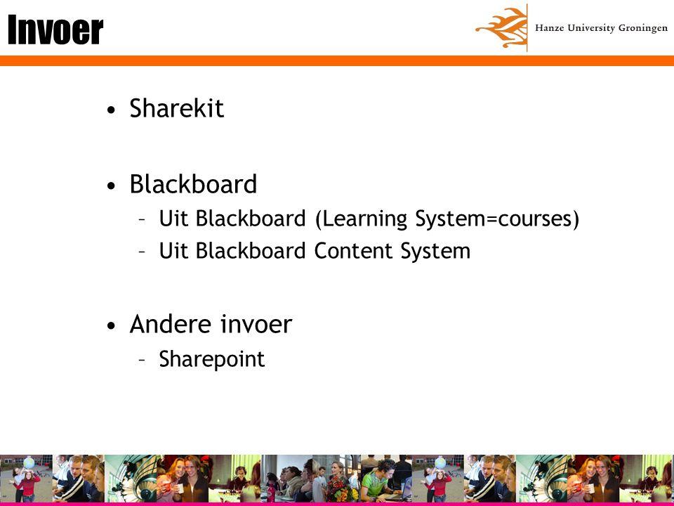 Invoer Sharekit Blackboard –Uit Blackboard (Learning System=courses) –Uit Blackboard Content System Andere invoer –Sharepoint