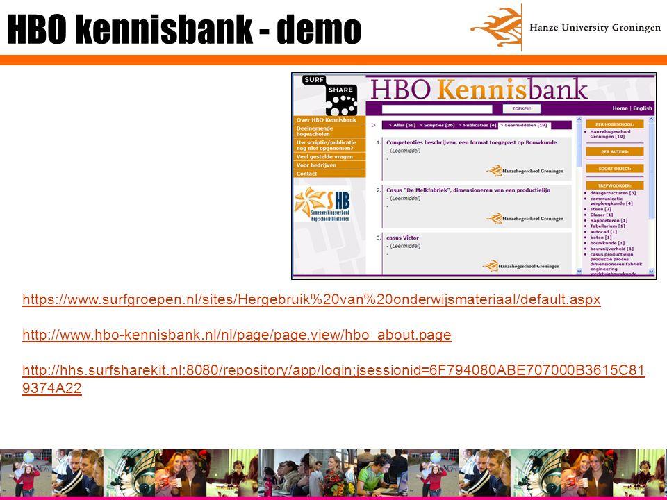 HBO kennisbank - demo https://www.surfgroepen.nl/sites/Hergebruik%20van%20onderwijsmateriaal/default.aspx http://www.hbo-kennisbank.nl/nl/page/page.view/hbo_about.page http://hhs.surfsharekit.nl:8080/repository/app/login;jsessionid=6F794080ABE707000B3615C81 9374A22
