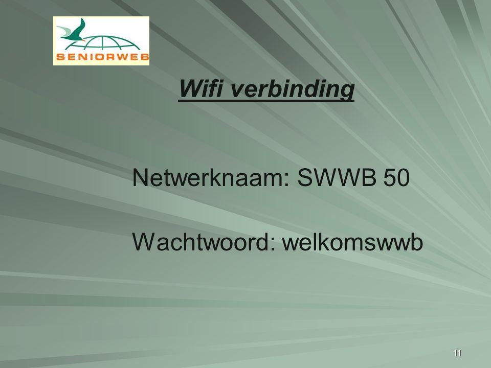 Wifi verbinding Netwerknaam: SWWB 50 Wachtwoord: welkomswwb 11