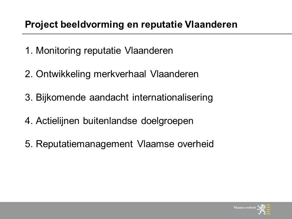 Project beeldvorming en reputatie Vlaanderen 1.Monitoring reputatie Vlaanderen 2.Ontwikkeling merkverhaal Vlaanderen 3.Bijkomende aandacht internationalisering 4.Actielijnen buitenlandse doelgroepen 5.Reputatiemanagement Vlaamse overheid