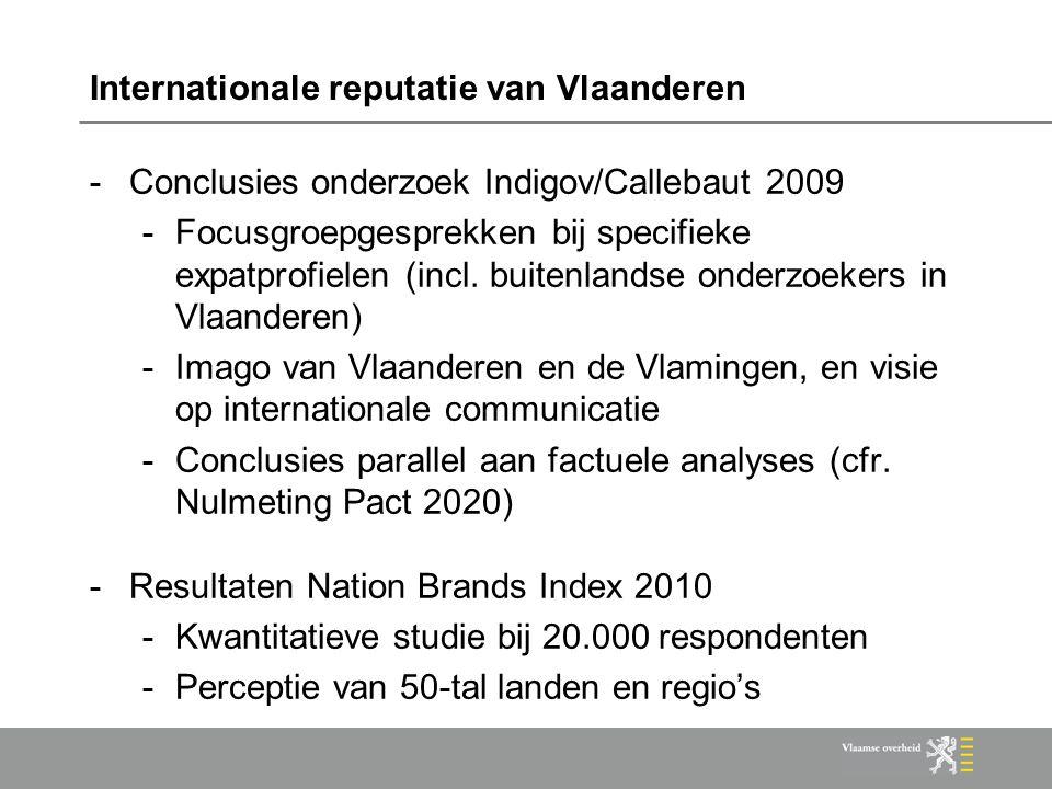 Internationale reputatie van Vlaanderen -Conclusies onderzoek Indigov/Callebaut 2009 -Focusgroepgesprekken bij specifieke expatprofielen (incl. buiten