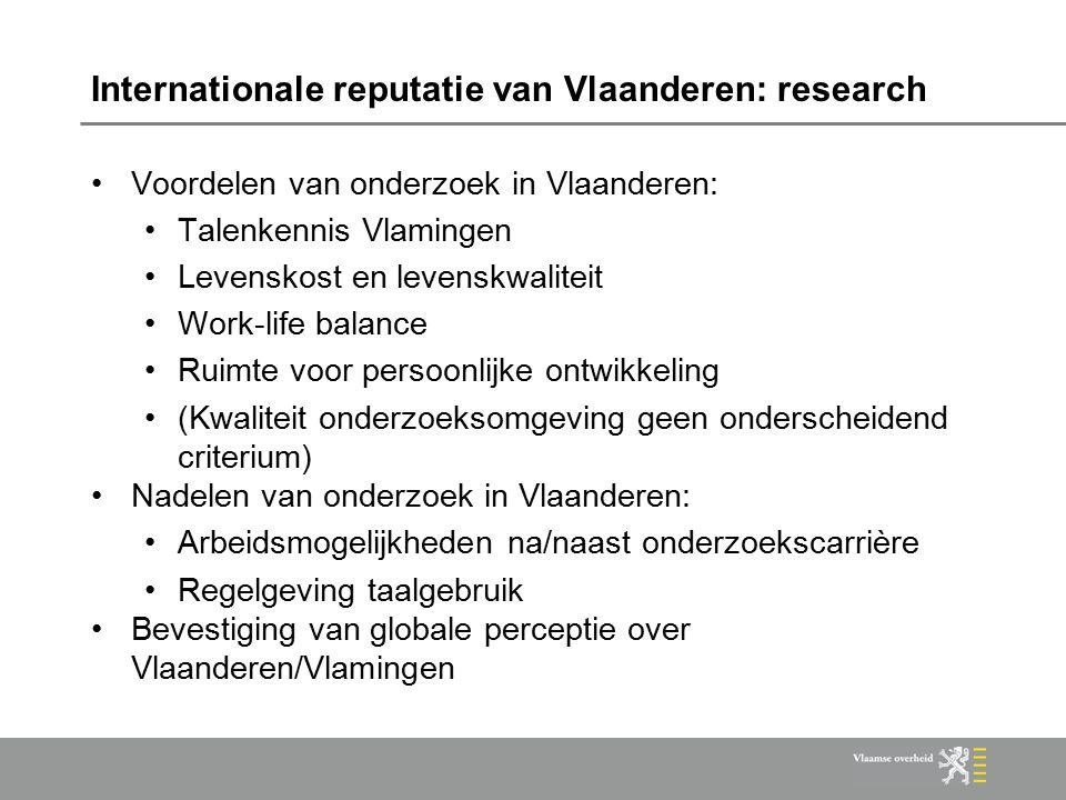 Internationale reputatie van Vlaanderen: research Voordelen van onderzoek in Vlaanderen: Talenkennis Vlamingen Levenskost en levenskwaliteit Work-life