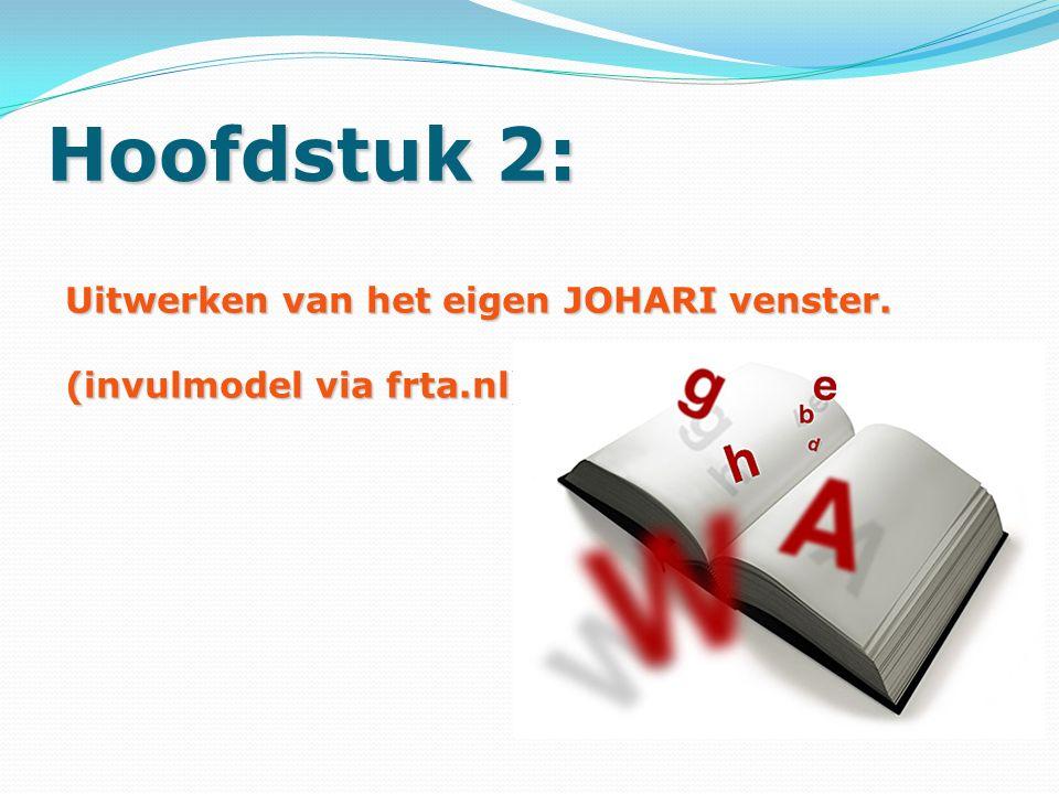 Hoofdstuk 2: Uitwerken van het eigen JOHARI venster. (invulmodel via frta.nl)