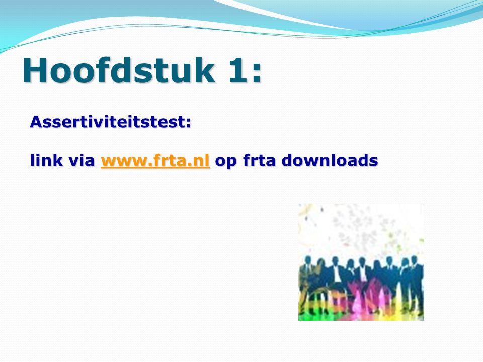 Assertiviteitstest: link via www.frta.nl op frta downloads www.frta.nl