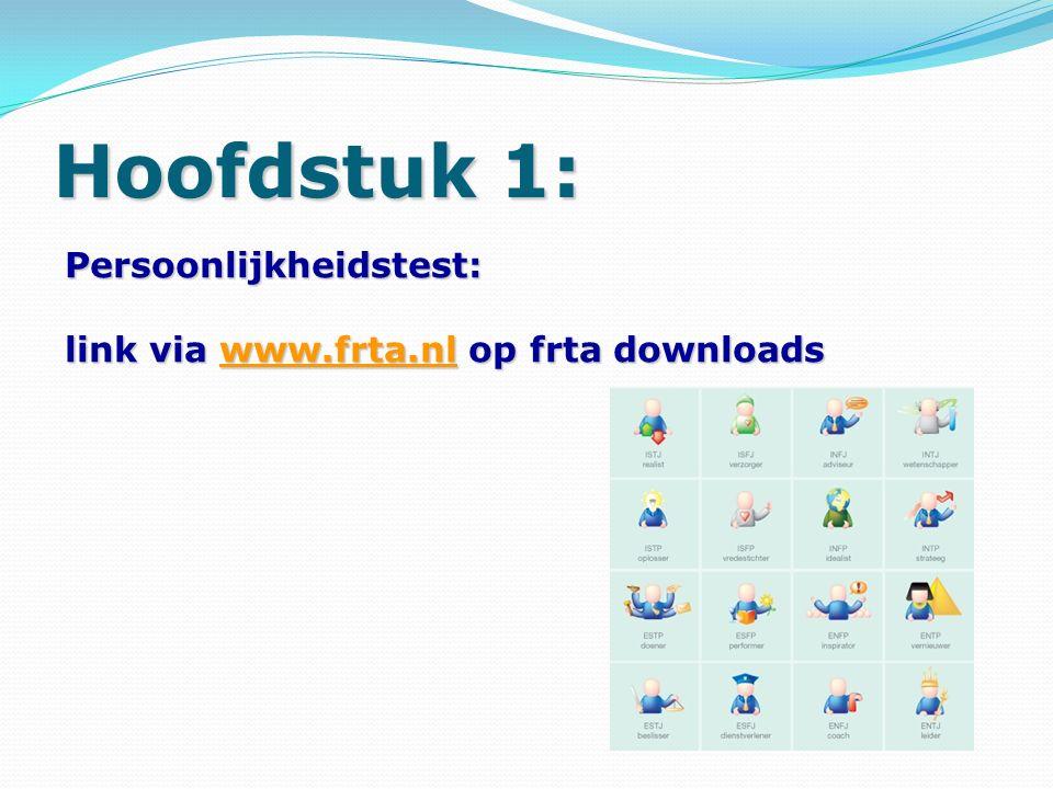 Hoofdstuk 1: Persoonlijkheidstest: link via www.frta.nl op frta downloads www.frta.nl