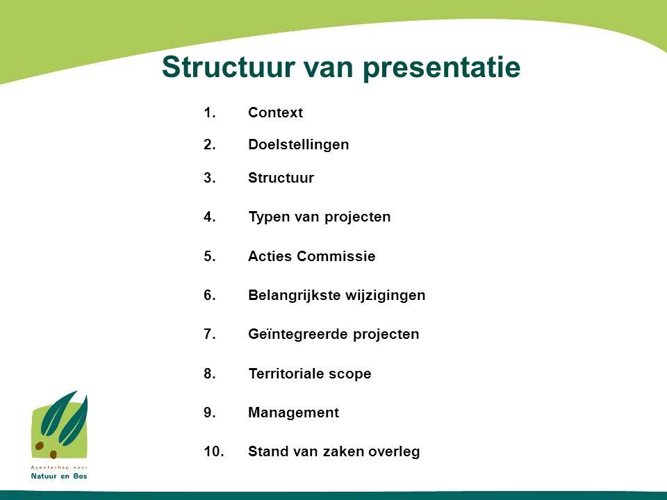 Structuur van presentatie 1.Context 2.Doelstellingen 3.Structuur 4.Typen van projecten 5.Acties Commissie 6.Belangrijkste wijzigingen 7.Geïntegreerde projecten 8.Territoriale scope 9.Management 10.Stand van zaken overleg