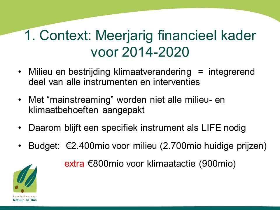 1. Context: Meerjarig financieel kader voor 2014-2020 Milieu en bestrijding klimaatverandering = integrerend deel van alle instrumenten en interventie