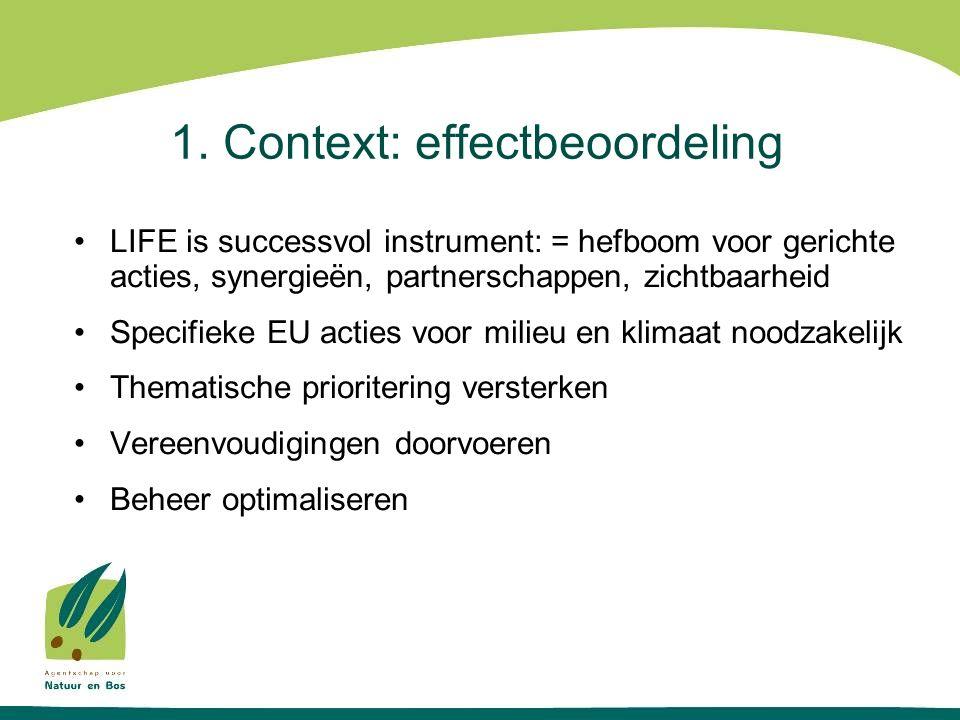 1. Context: effectbeoordeling LIFE is successvol instrument: = hefboom voor gerichte acties, synergieën, partnerschappen, zichtbaarheid Specifieke EU