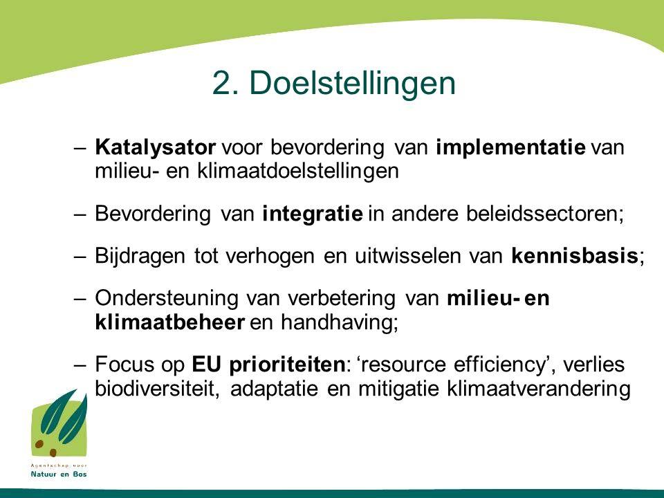 2. Doelstellingen –Katalysator voor bevordering van implementatie van milieu- en klimaatdoelstellingen –Bevordering van integratie in andere beleidsse
