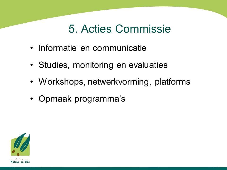 5. Acties Commissie Informatie en communicatie Studies, monitoring en evaluaties Workshops, netwerkvorming, platforms Opmaak programma's