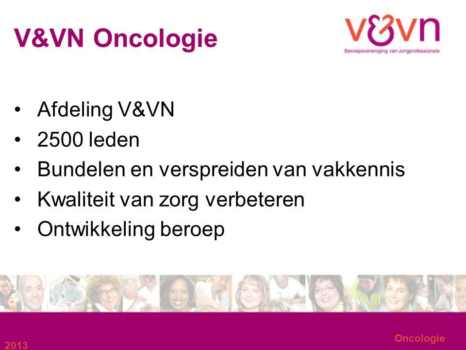 2013 Oncologie V&VN Oncologie Afdeling V&VN 2500 leden Bundelen en verspreiden van vakkennis Kwaliteit van zorg verbeteren Ontwikkeling beroep
