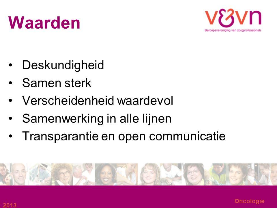 Oncologie Waarden Deskundigheid Samen sterk Verscheidenheid waardevol Samenwerking in alle lijnen Transparantie en open communicatie 2013