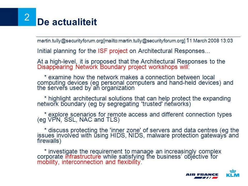 13 Van uitgangspunten naar Architecture by principles Risico analyse is verplicht.