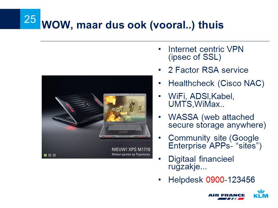 25 WOW, maar dus ook (vooral..) thuis Internet centric VPN (ipsec of SSL) 2 Factor RSA service Healthcheck (Cisco NAC) WiFi, ADSl,Kabel, UMTS,WiMax.