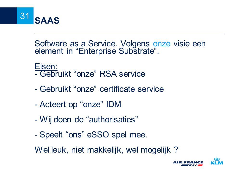 "31 SAAS Software as a Service. Volgens onze visie een element in ""Enterprise Substrate"". Eisen: - Gebruikt ""onze"" RSA service - Gebruikt ""onze"" certif"
