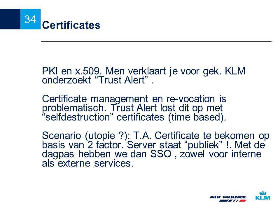 """34 Certificates PKI en x.509. Men verklaart je voor gek. KLM onderzoekt """"Trust Alert"""". Certificate management en re-vocation is problematisch. Trust A"""