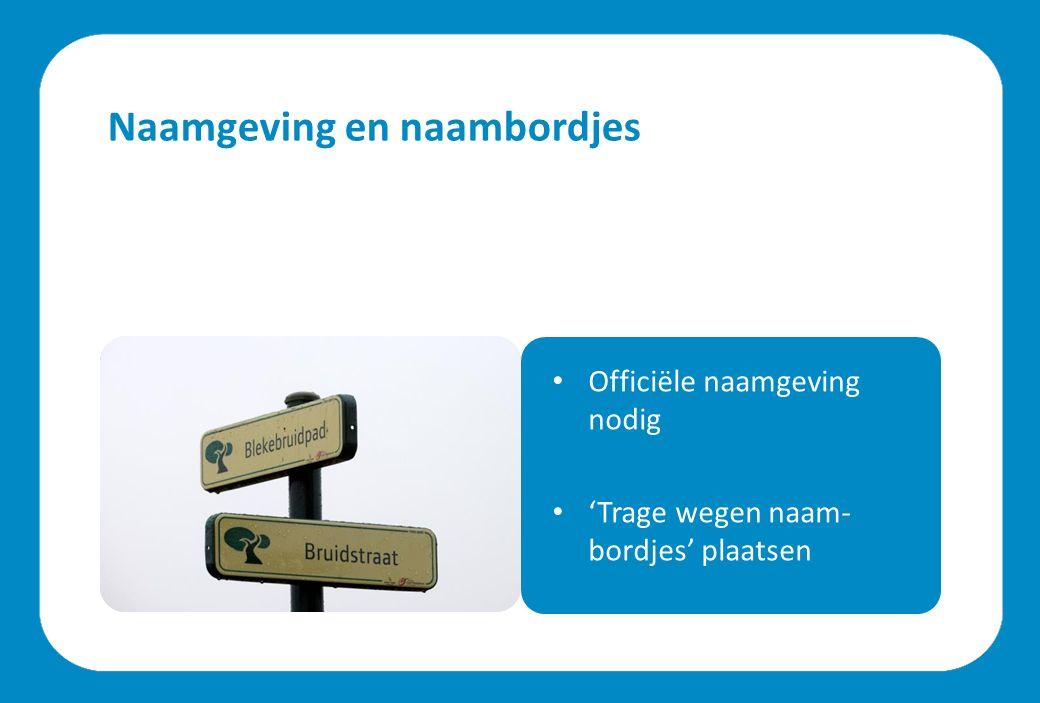 Naamgeving en naambordjes Officiële naamgeving nodig 'Trage wegen naam- bordjes' plaatsen