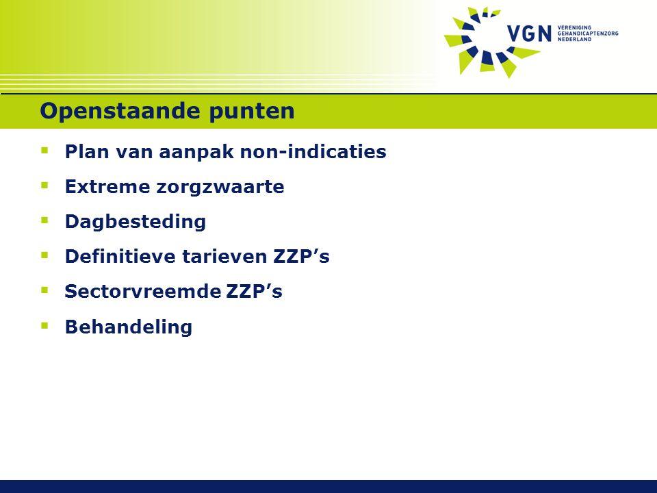 Openstaande punten  Plan van aanpak non-indicaties  Extreme zorgzwaarte  Dagbesteding  Definitieve tarieven ZZP's  Sectorvreemde ZZP's  Behandel