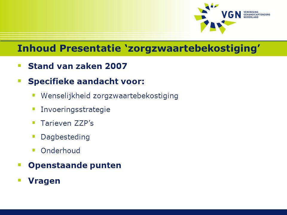 Inhoud Presentatie 'zorgzwaartebekostiging'  Stand van zaken 2007  Specifieke aandacht voor:  Wenselijkheid zorgzwaartebekostiging  Invoeringsstra