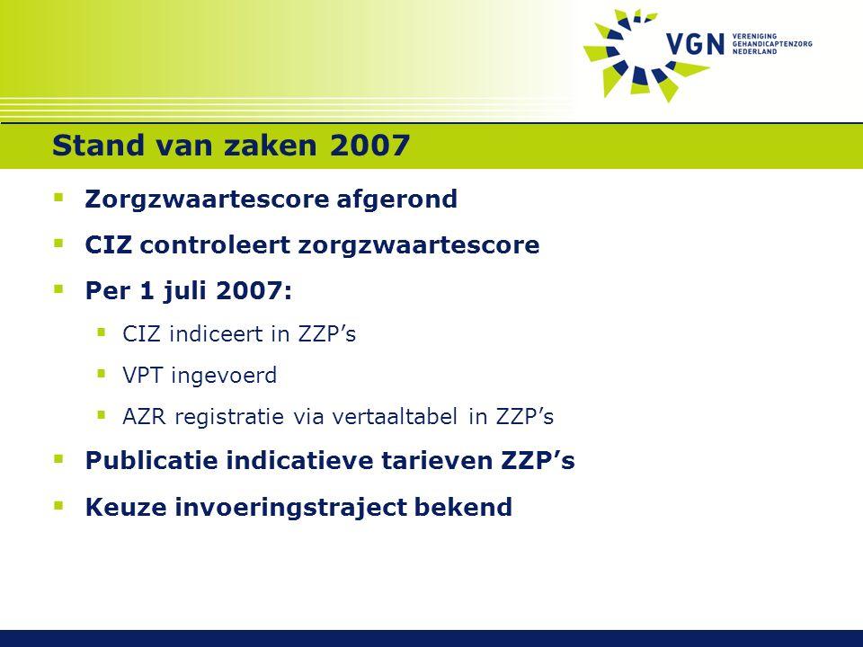 Stand van zaken 2007  Zorgzwaartescore afgerond  CIZ controleert zorgzwaartescore  Per 1 juli 2007:  CIZ indiceert in ZZP's  VPT ingevoerd  AZR registratie via vertaaltabel in ZZP's  Publicatie indicatieve tarieven ZZP's  Keuze invoeringstraject bekend