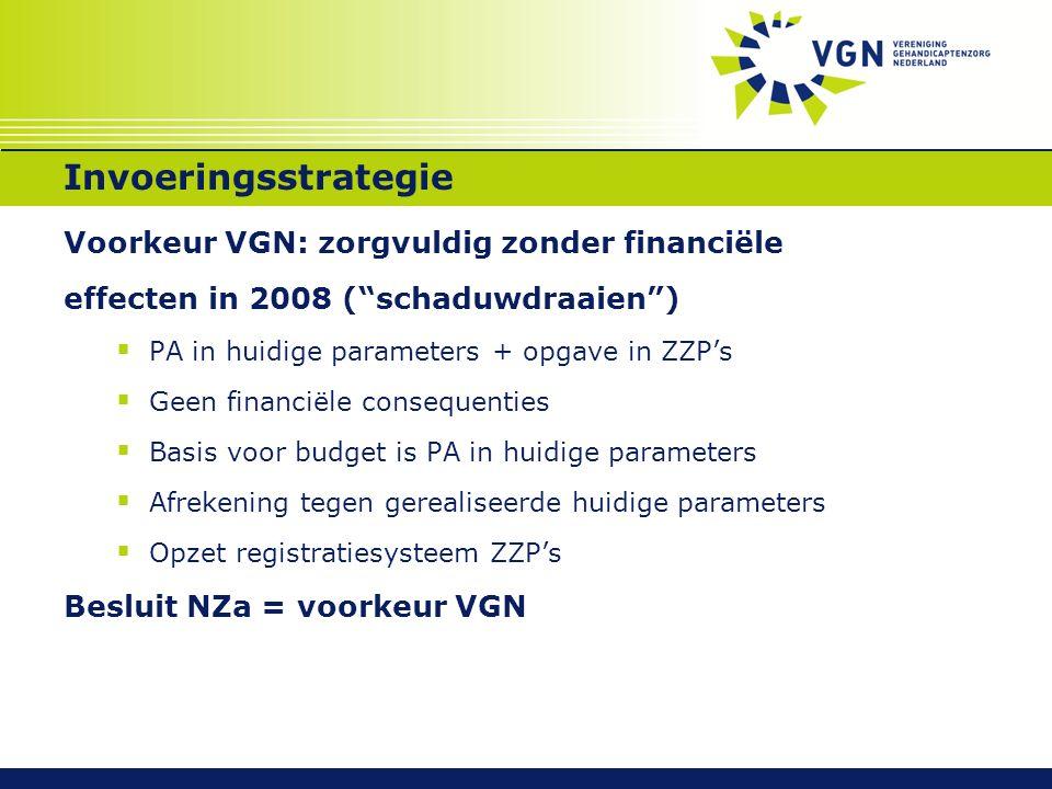 """Invoeringsstrategie Voorkeur VGN: zorgvuldig zonder financiële effecten in 2008 (""""schaduwdraaien"""")  PA in huidige parameters + opgave in ZZP's  Geen"""
