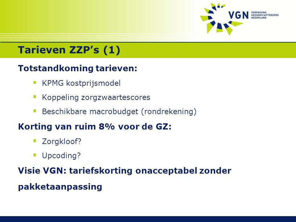 Tarieven ZZP's (1) Totstandkoming tarieven:  KPMG kostprijsmodel  Koppeling zorgzwaartescores  Beschikbare macrobudget (rondrekening) Korting van r