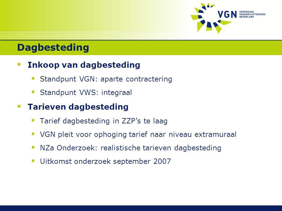 Dagbesteding  Inkoop van dagbesteding  Standpunt VGN: aparte contractering  Standpunt VWS: integraal  Tarieven dagbesteding  Tarief dagbesteding