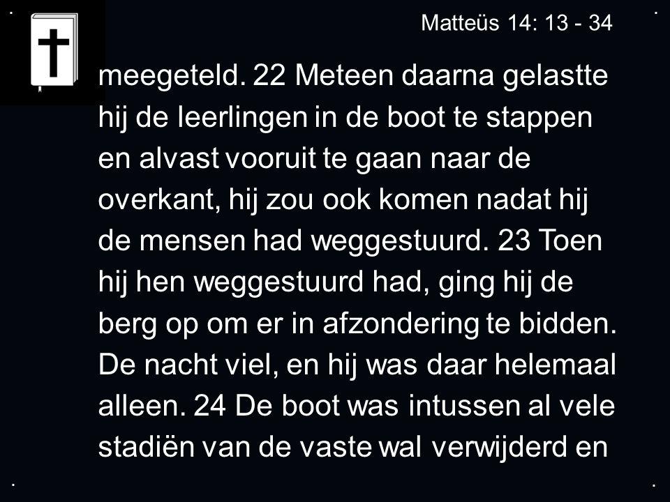 .... Matteüs 14: 13 - 34 meegeteld.