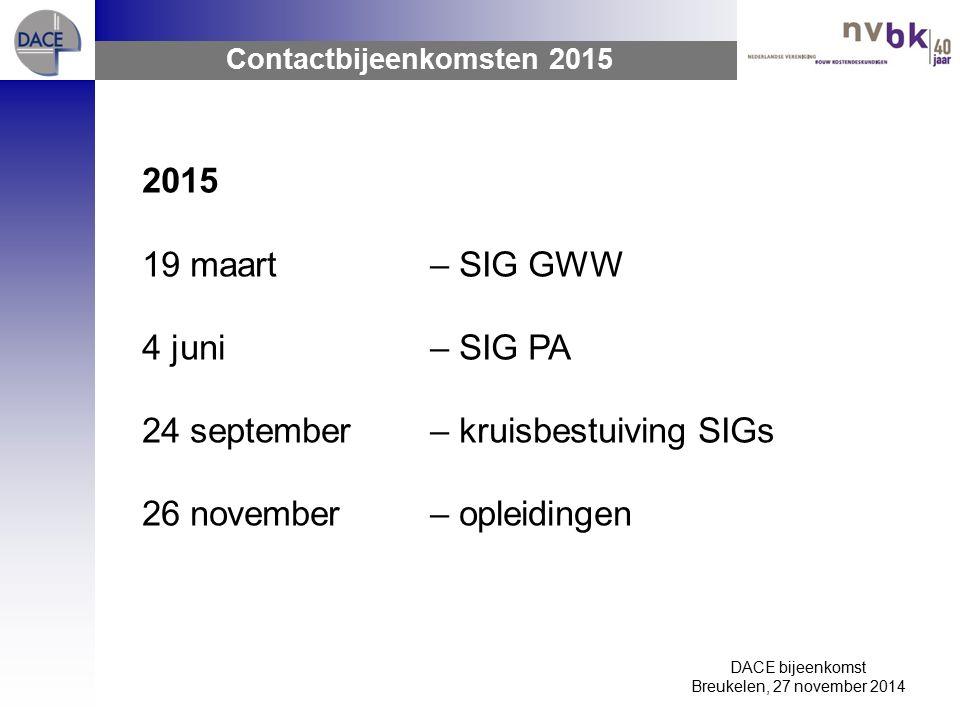 DACE bijeenkomst Breukelen, 27 november 2014 Contactbijeenkomsten 2015 2015 19 maart– SIG GWW 4 juni– SIG PA 24 september– kruisbestuiving SIGs 26 november– opleidingen
