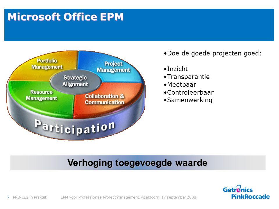 7PRINCE2 in Praktijk EPM voor Professioneel Projectmanagement, Apeldoorn, 17 september 2008 Microsoft Office EPM Doe de goede projecten goed: Inzicht Transparantie Meetbaar Controleerbaar Samenwerking Verhoging toegevoegde waarde