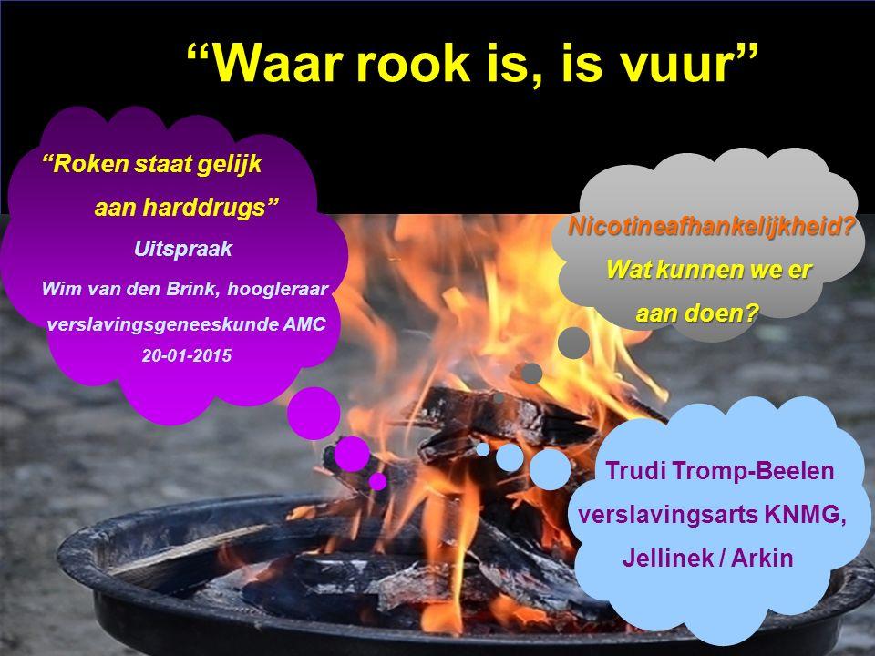"""Waar rook is, is vuur"" Trudi Tromp-Beelen verslavingsarts KNMG, Jellinek / Arkin Nicotineafhankelijkheid? Nicotineafhankelijkheid? Wat kunnen we er W"