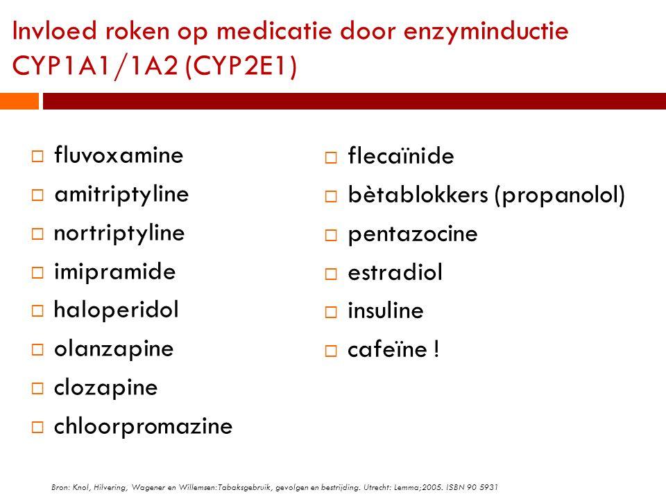 Invloed roken op medicatie door enzyminductie CYP1A1/1A2 (CYP2E1)  fluvoxamine  amitriptyline  nortriptyline  imipramide  haloperidol  olanzapin
