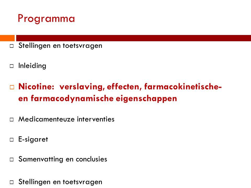 Programma  Stellingen en toetsvragen  Inleiding  Nicotine: verslaving, effecten, farmacokinetische- en farmacodynamische eigenschappen  Medicament